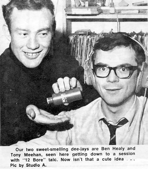 Ben Healy and Tony Meehan advertise talcum powder