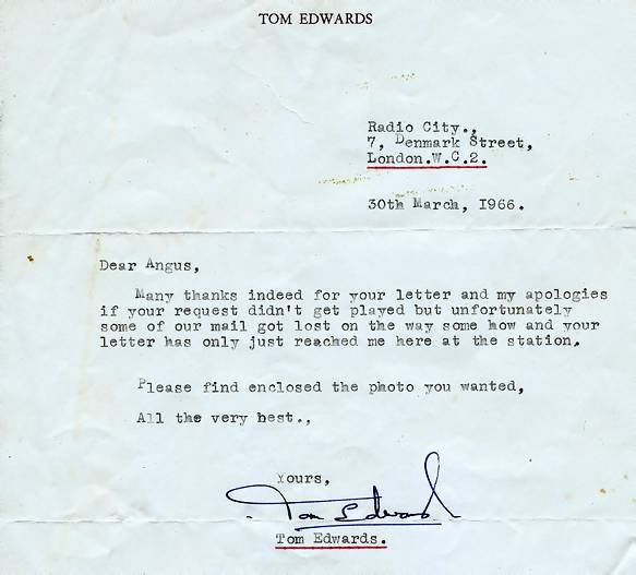 letter from Tom Edwards