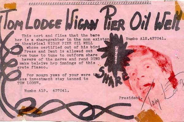 share certificate for Tom Lodge's Wigan Pier oil well