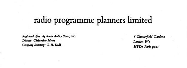 Radio Programme Planners letter heading