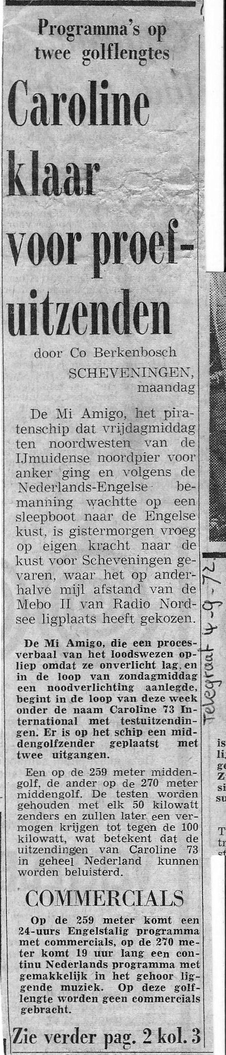 De Telegraaf 4th September 1972