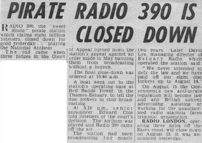 Radio 390 closes down