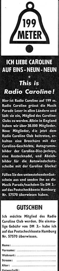 German Caroline Club advert