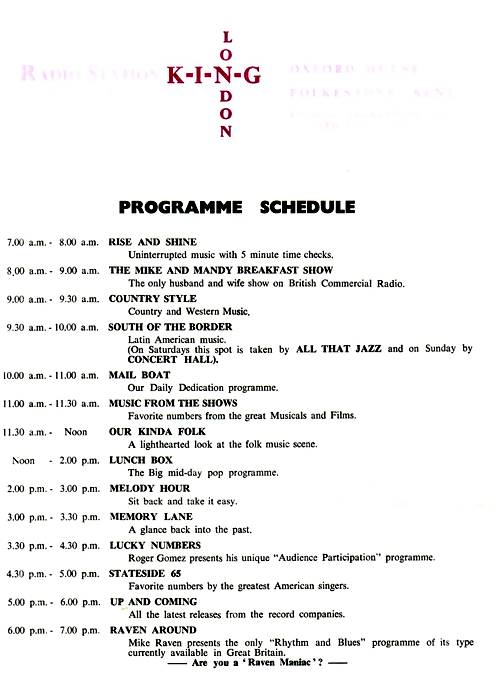 King Radio programme schedule