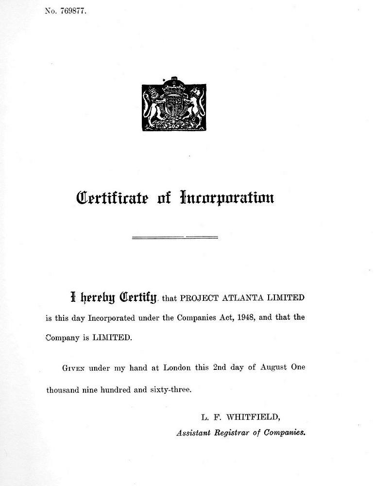 Certificate of Incorporation