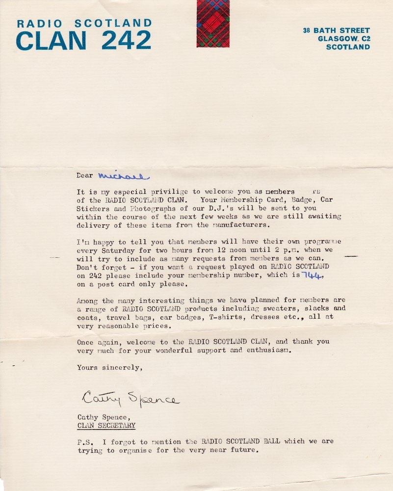 Welcome to the Radio Scotland Clan letter