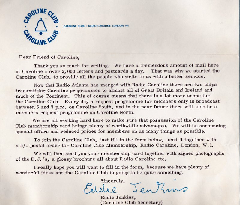 letter from the Caroline Club