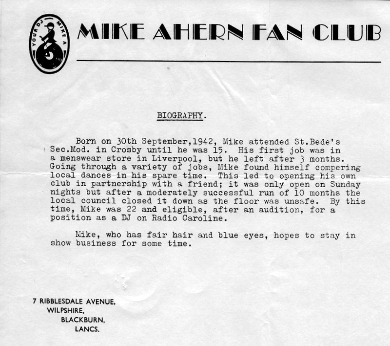 Mike Ahern fanclub mail-out