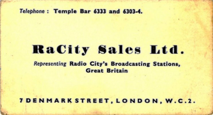 Radio City business card
