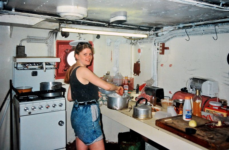 Louise Roberts in the galley